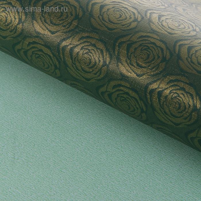 """Бумага упаковочная """"Розочки"""", цвет зелёный"""