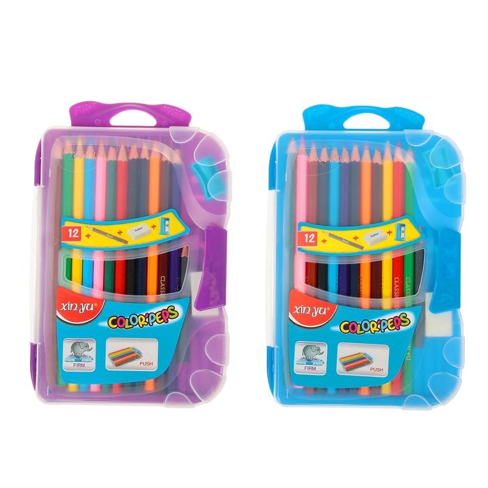 Карандаши 12 цветов в пластиковом пенале+1карандаш чернографитный+точилка+ластик МИКС