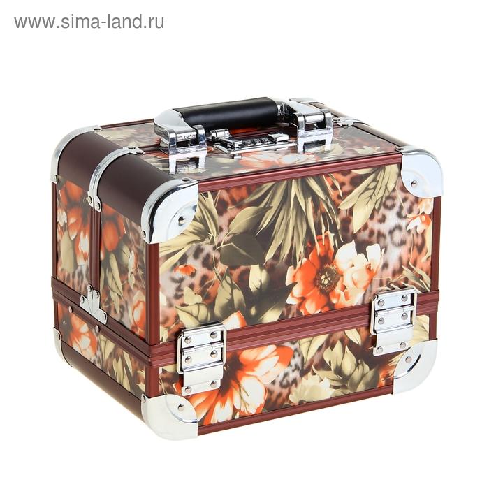 "Шкатулка-сундучок ""Оранжевые цветы на леопарде"""