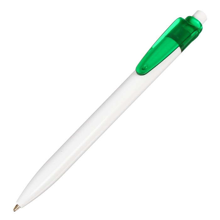 Ручка шариковая автоматическая, корпус белый с зеленой вставкой, стержень синий