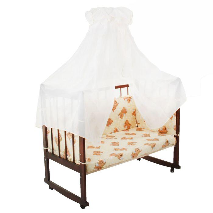 """Комплект в кроватку """"Мишка"""" (3 предмета), цвет бежевый, принт МИКС (арт. 10075)"""