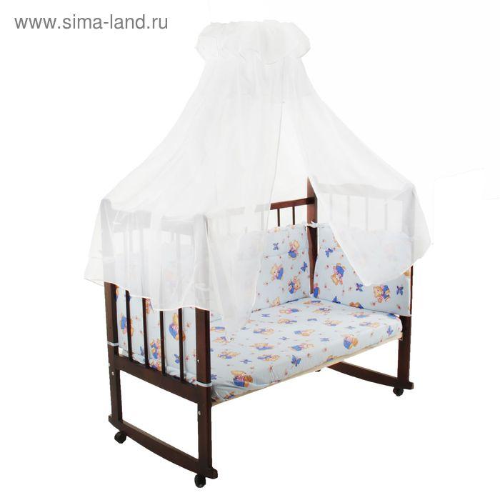 """Комплект в кроватку """"Мишка"""" (3 предмета), цвет голубой, принт МИКС (арт. 10075)"""