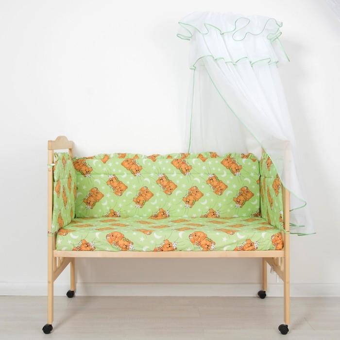 """Комплект в кроватку """"Мишка"""" (3 предмета), цвет зелёный, принт МИКС (арт. 10075)"""