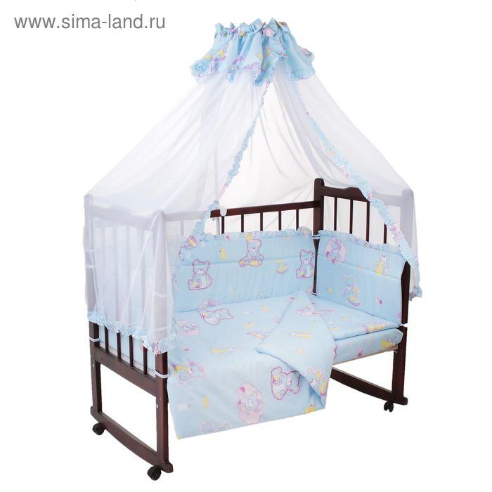 """Комплект в кроватку """"Малютка"""" (4 предмета), цвет голубой, принт МИКС (арт. 10076)"""