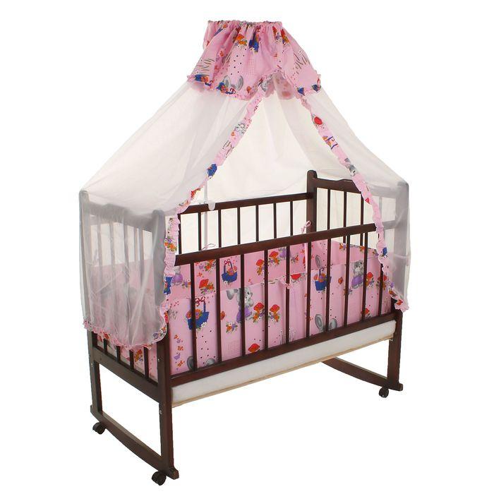 Комплект в кроватку (2 предмета), цвет розовый, принт МИКС (арт. 70079)