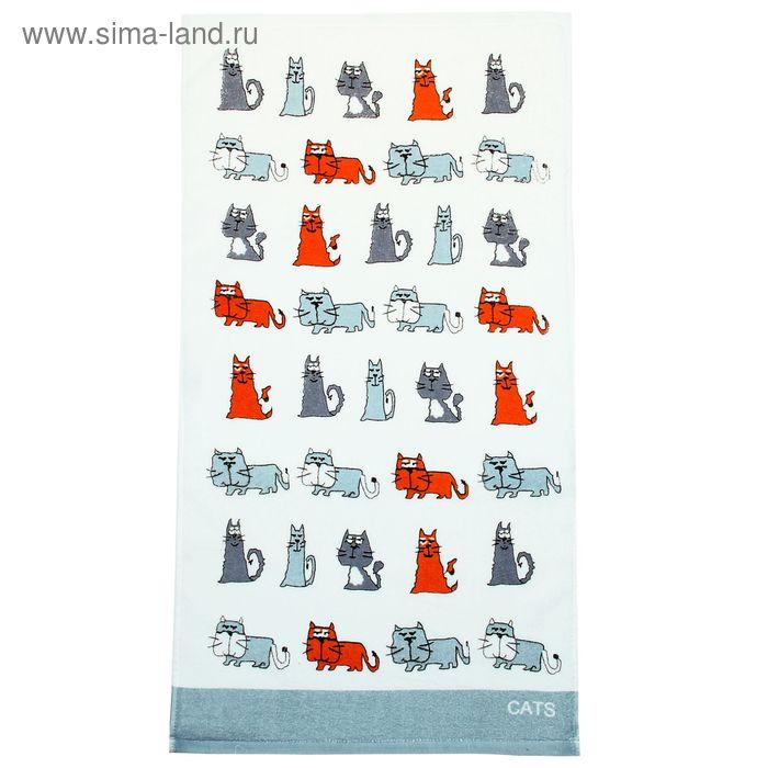 """Полотенце махровое Купу-Купу """"Кот и кошка"""", размер 32х70 см, цвет светло-серый, хлопок 100%, 420 г/м2"""