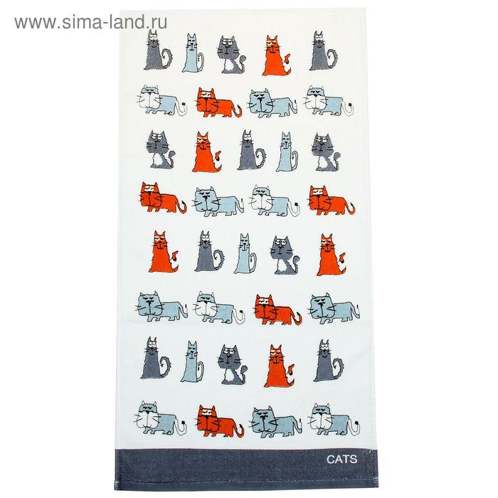 """Полотенце махровое Купу-Купу """"Кот и кошка"""", размер 32х70 см, цвет тёмно-серый, хлопок 100%, 420 г/м2"""