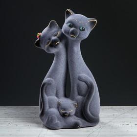 """Копилка """"Семейство котов"""", флок, серая, 26 см"""