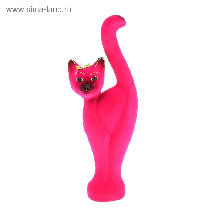 """Копилка """"Кошка Анфиса"""" малая, флок, розовая"""