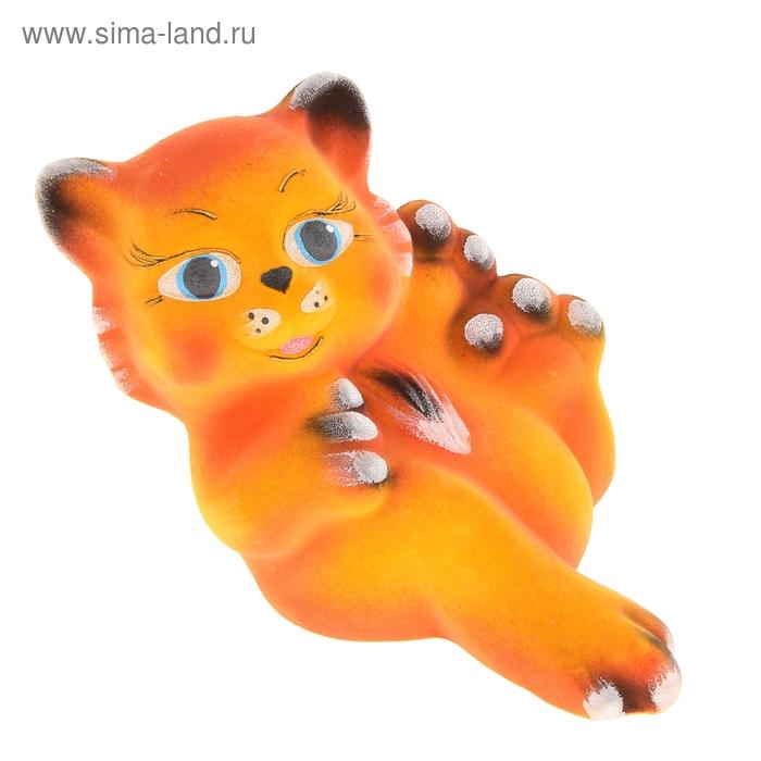 """Копилка """"Котёнок на отдыхе"""" флок, персиковая поддувка"""