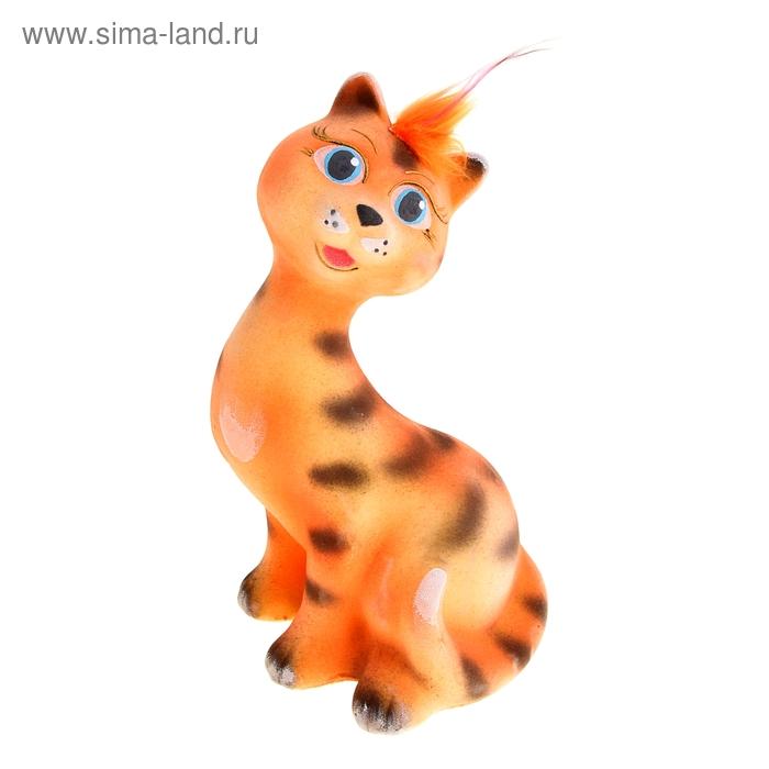 """Копилка """"Кошка Рэйчел"""" флок, полосатая, персиковая"""