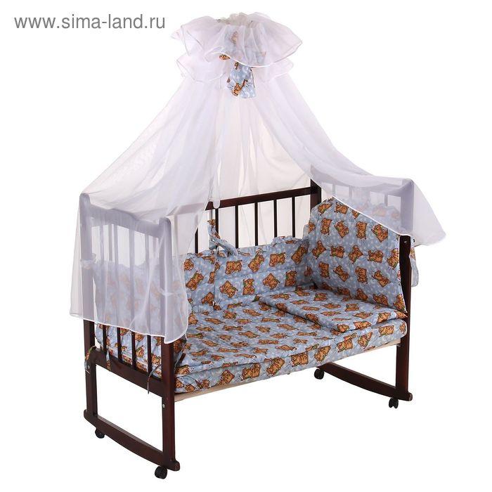 """Комплект в кроватку """"Мишка"""" (7 предметов), цвет голубой, принт МИКС (арт. 10134)"""