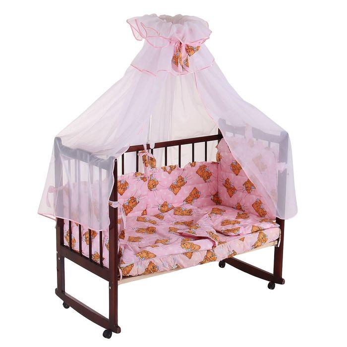 """Комплект в кроватку """"Мишка"""" (7 предметов), цвет розовый, принт МИКС (арт. 10134)"""