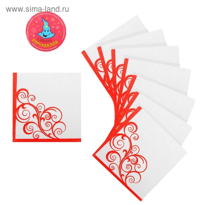 """Салфетки бумажные (набор 20 шт) 33*33 см """"Вензеля"""" красный"""