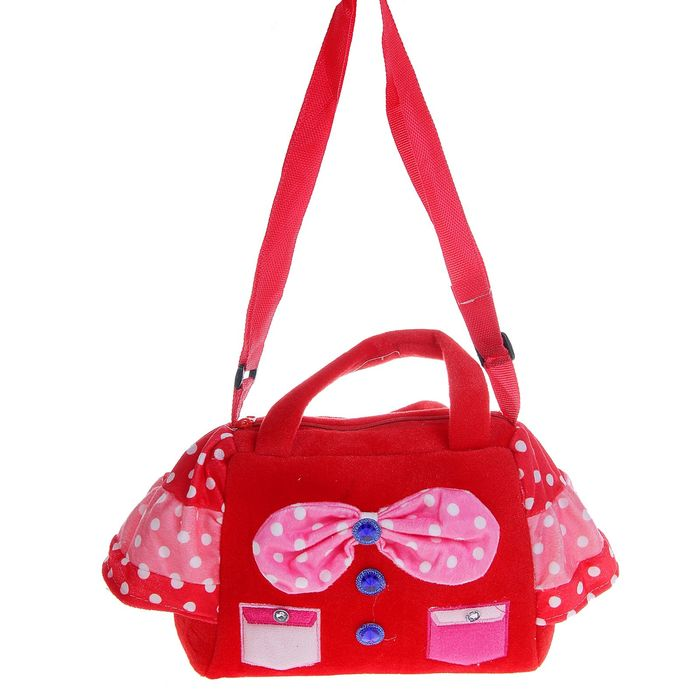 Мягкая сумочка с бантиком кармашками, цвета МИКС