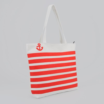Beach tote Anchor, 1 division, lining, zipper, color white-red