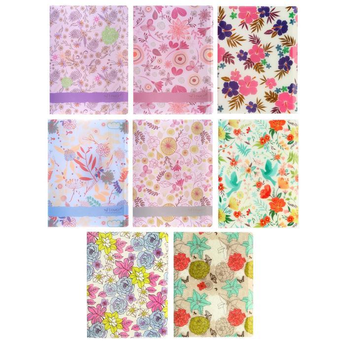 Папка, формат А4, с 30 прозрачными файлами, пластик, «Цветы», МИКС