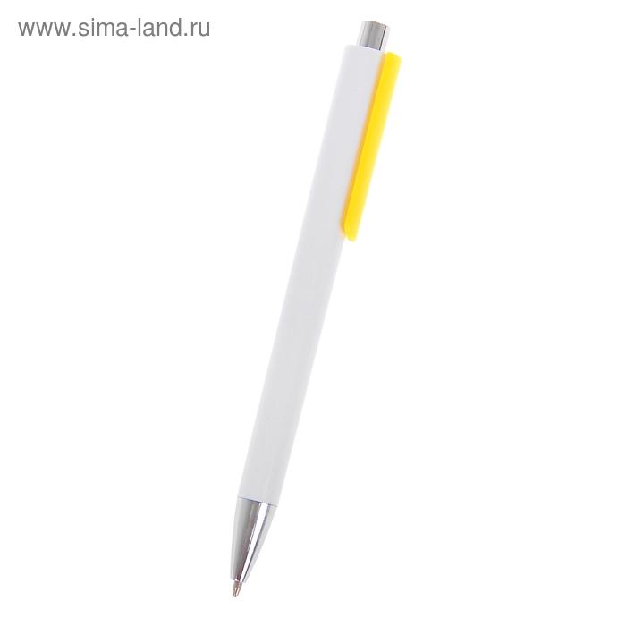 Ручка шариковая автоматическая Лого корпус белый с желтым держателем, стержень синий