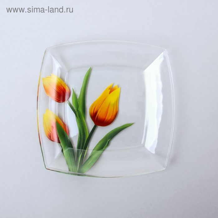 """Тарелка квадратная 19,5х19,5 см """"Тюльпаны"""""""