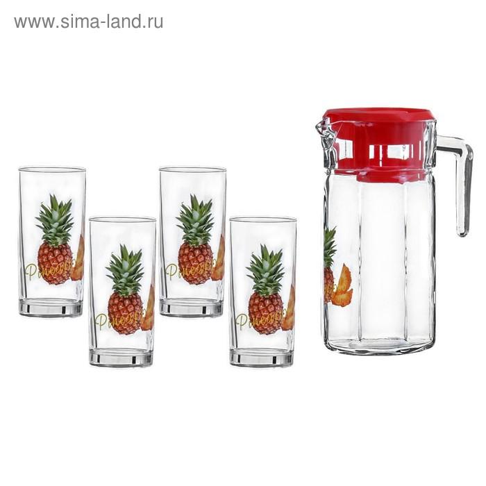 """Набор питьевой """"Ананас"""", 5 предметов: 4 стакана 300 мл, кувшин 1,5 л"""