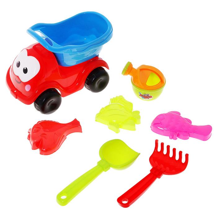 """Песочный набор """"Машинка"""" 7 предметов: машинка, лейка, 3 формочки, грабли, лопатка, цвета МИКС"""