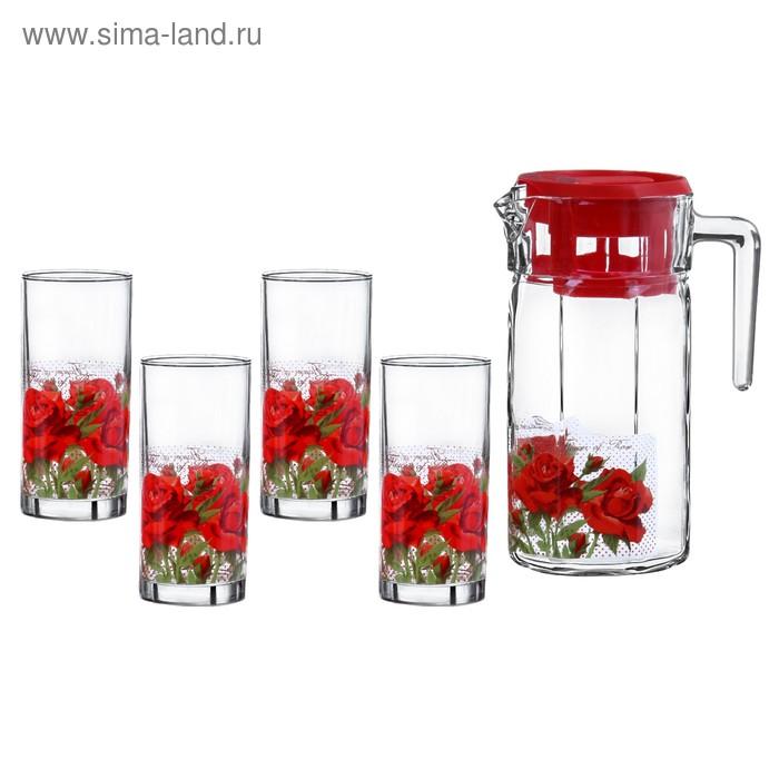 """Набор питьевой """"Розовый букет"""", 5 предметов: 4 стакана 300 мл, кувшин 1,5 л"""