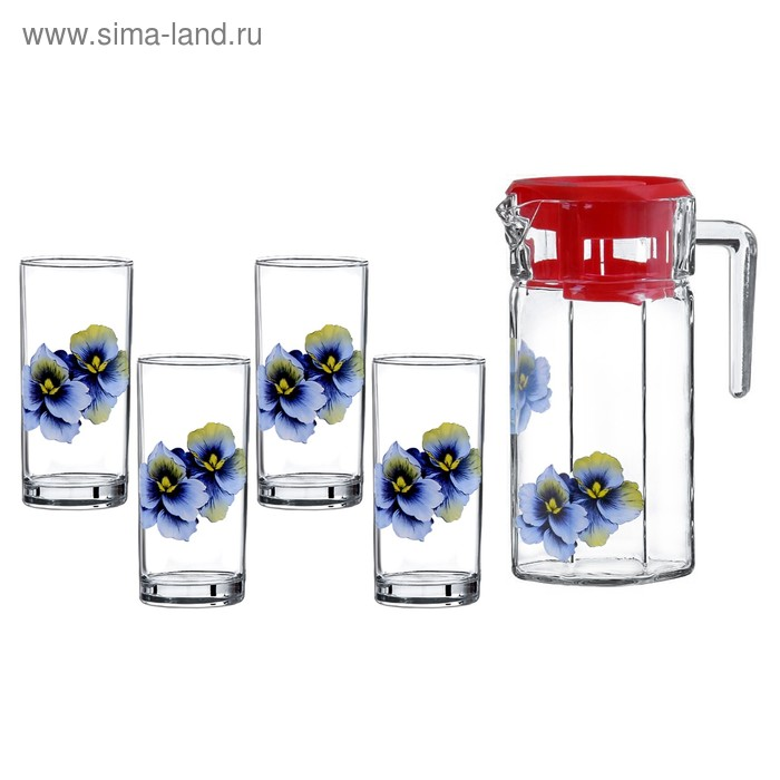 """Набор питьевой """"Орхидея"""", 5 предметов: 4 стакана 300 мл, кувшин 1,5 л"""