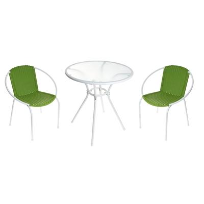 Набор: стол, размер 69 х 69 х 71 см, 2 стула, размер 65 х 56 х 78 см, до 80 кг, цвет зелёный