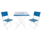 Набор: стол, размер 60 х 60 х 71 см, 2 стула, размер 50 х 43 х 82 см, до 80 кг, цвет голубой