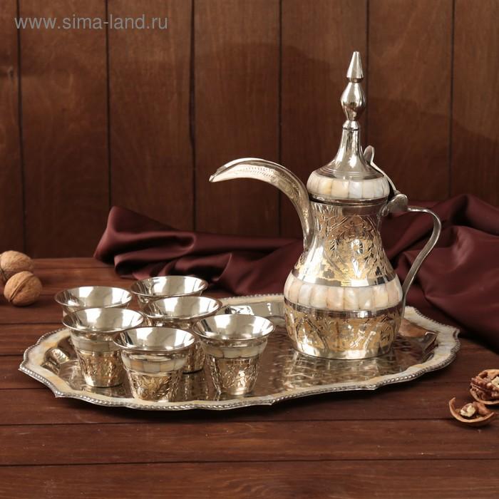"""Набор посуды с перламутровыми вставками """"Пава"""": поднос, 6 чашек, чайник"""