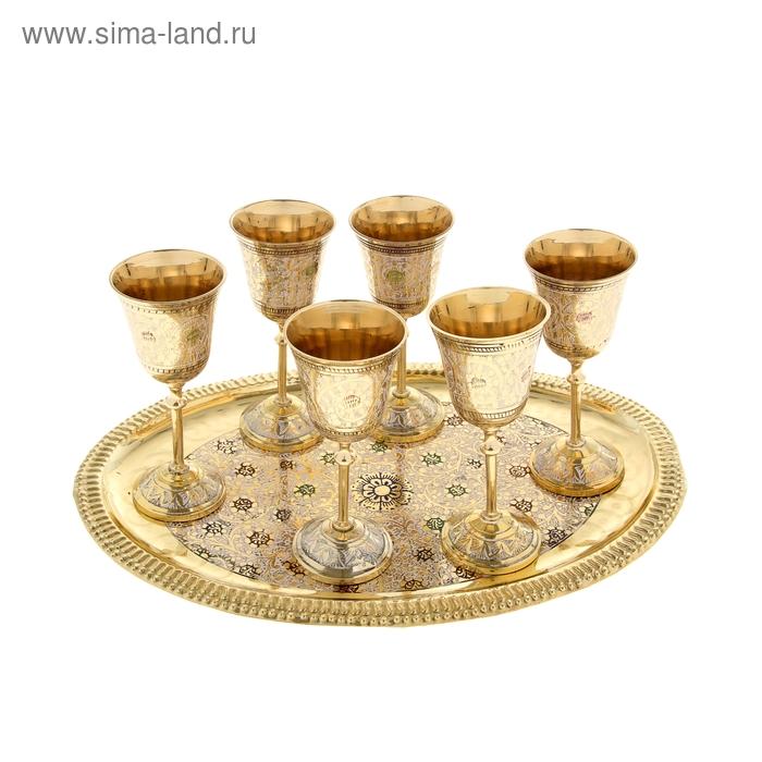 """Набор бокалов """"Райские птицы"""": поднос и 6 бокалов"""