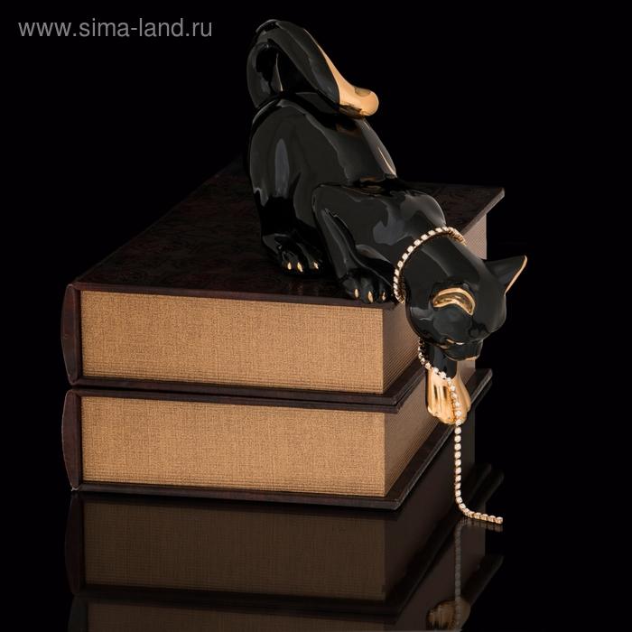 """Статуэтка """"Кошка с цепочкой"""" черная со стразами Swarowski"""