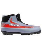 Ботинки лыжные TREK Sportiks NNN ИК, цвет серый металлик, лого красный, размер 45