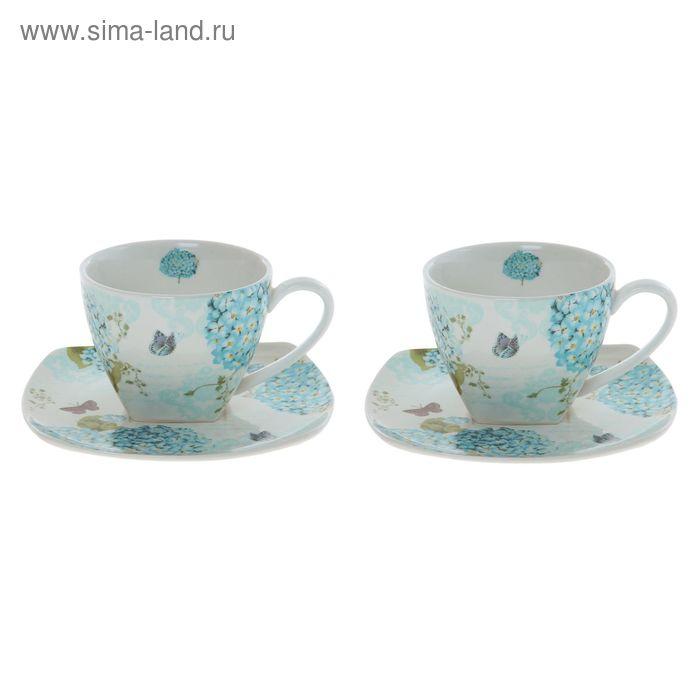 """Сервиз чайный """"Незабудки"""", 4 предмета: 2 чашки 250 мл, 2 блюдца 150 мм"""