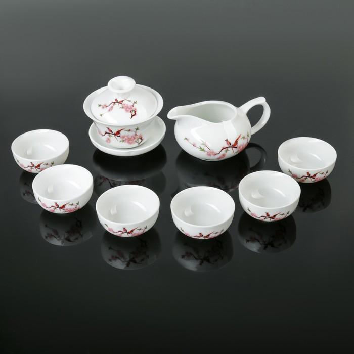 "Набор для чайной церемонии ""Птицы"", 8 предметов: чайник 150 мл, чахай 100 мл, чашки 40 мл"