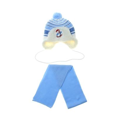 Шапка дет.зимняя Снеговик, объем головы 42-44см (3-6мес), цвет голубой