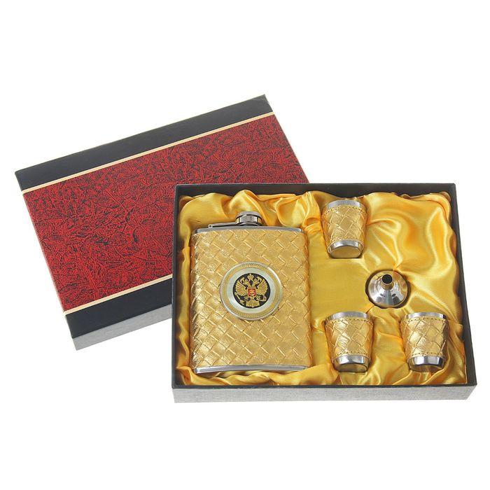 """Подарочный набор 5 в 1 """"Герб в золотом плетении"""": фляжка 240 мл + воронка, 3 рюмки"""
