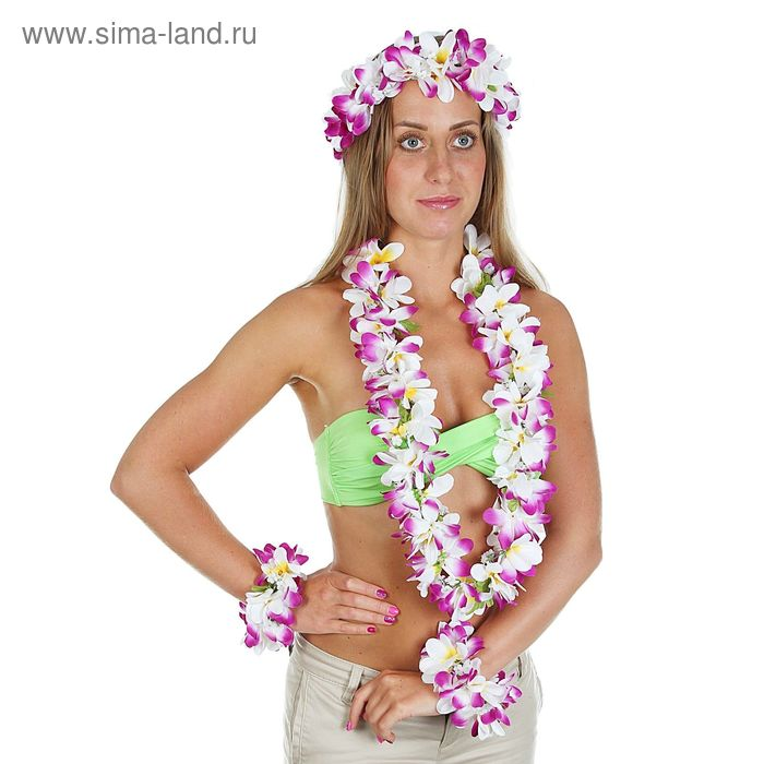 """Гавайский набор """"Ромашки"""", 4 предмета: два браслета, венок, ожерелье"""