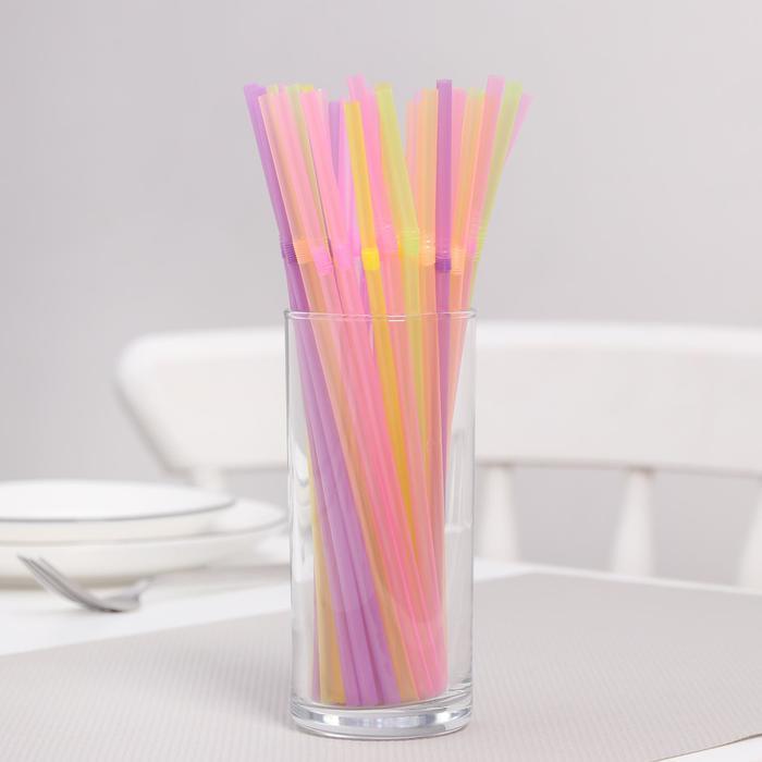 Трубочки для коктейля 21 см, гофрированные, набор 100 шт