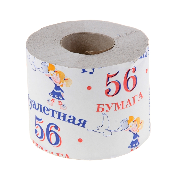 "Туалетная бумага ""56"", 1 слой, 1 шт., светло-серая"