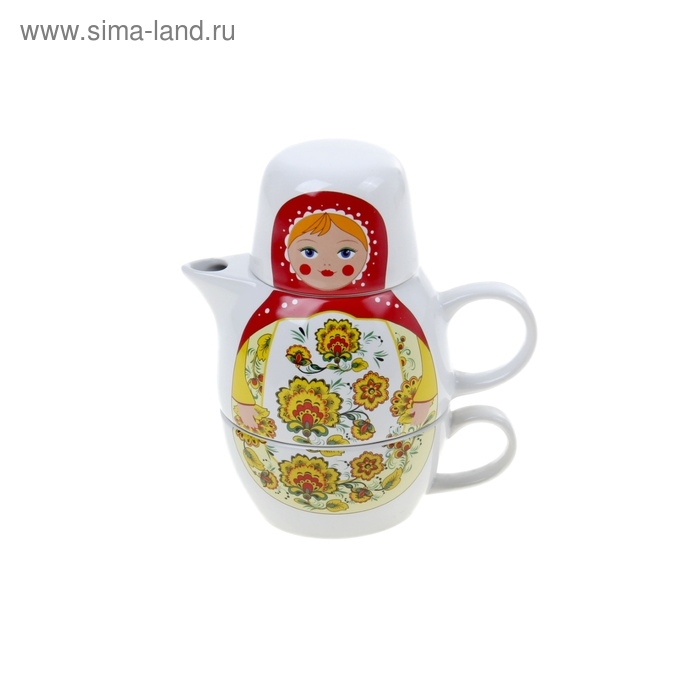 """Набор чайный """"Матрешка городецкая"""", 2 предмета: чайник заварочный 500 мл, кружка 220 мл"""