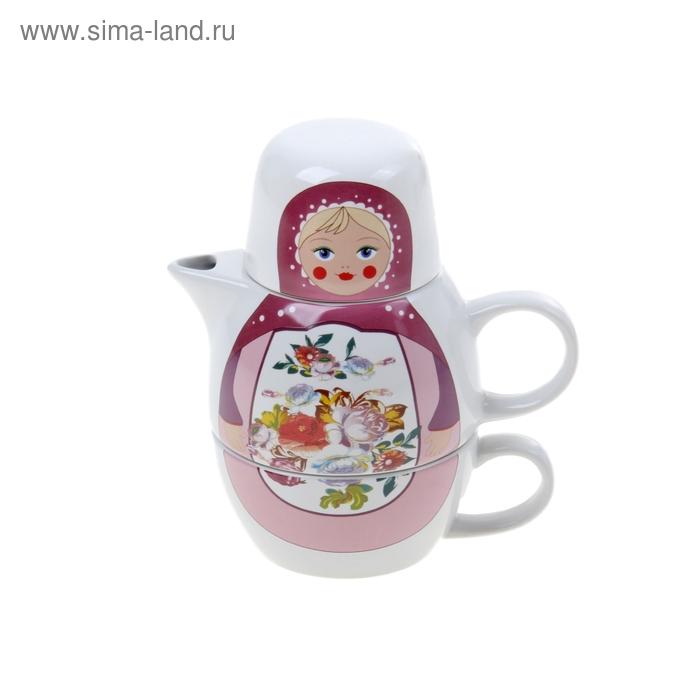 """Набор чайный """"Матрешка жостовская"""", 2 предмета: чайник заварочный 500 мл, кружка 220 мл"""