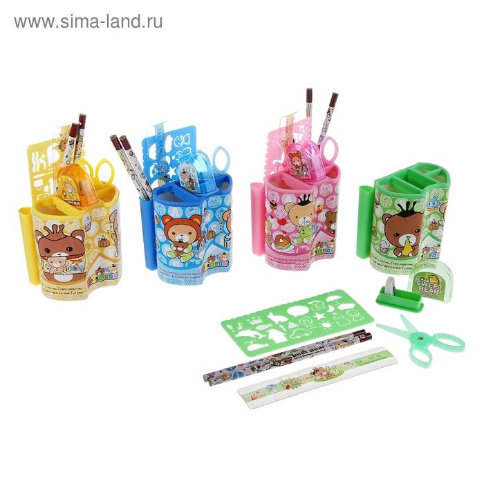 Набор настольный, детский, «Мишки» из 7 предметов: 2 карандаша, линейка, ножницы, точилка, трафарет, подставка, МИКС