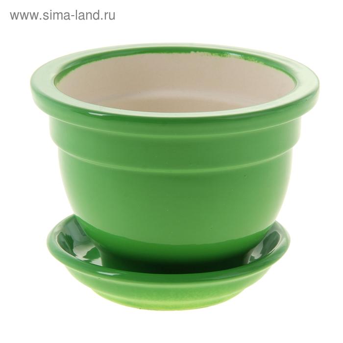 """Кашпо """"Бета"""" фиалочница, зелёное, глянец, 0,5 л"""