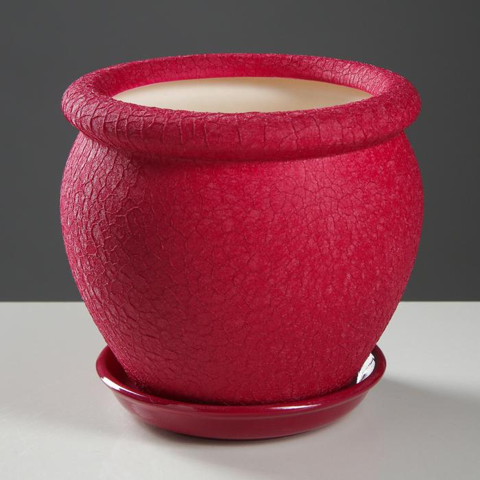 """Горшок для цветов """"Вьетнам"""" шёлк, бордовый, 1,5 л - фото 725625399"""