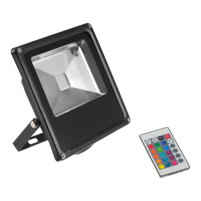Прожектор светодиодный 20W, с пультом, IP66, 220 В, RGB
