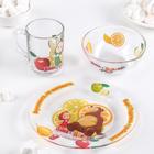 """Набор детской посуды """"Маша и Медведь. Цитрусовый"""", 3 предмета: кружка 250 мл, салатник 250 мл 13 см, тарелка 19,5 см"""