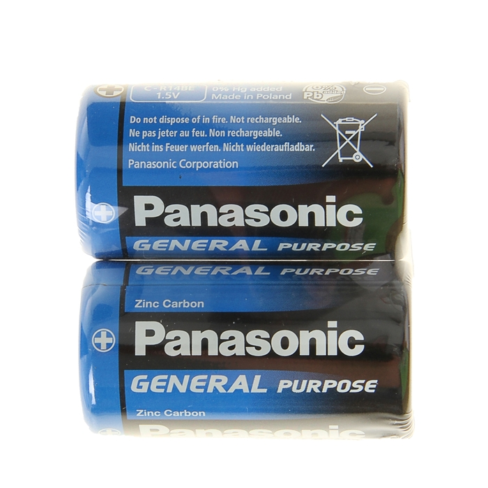 Батарейка солевая Panasonic General Purpose, C, R14-2S, 1.5В, спайка, 2 шт.