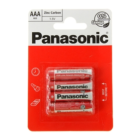 Батарейка солевая Panasonic Zinc Carbon, AAA, R03-4BL, 1.5В, блистер, 4 шт.