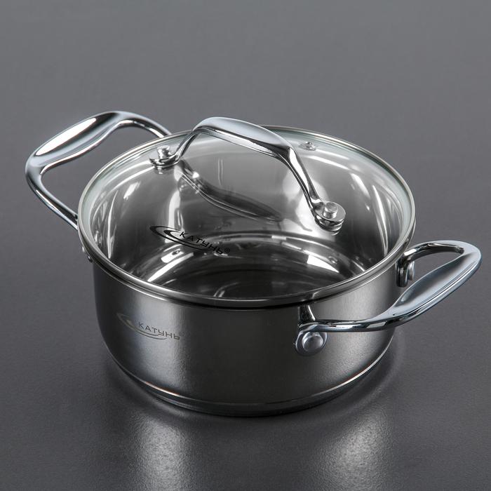 Кастрюля «Ника», d=16 см, 1,6 л, капсульное дно, стеклянная крышка